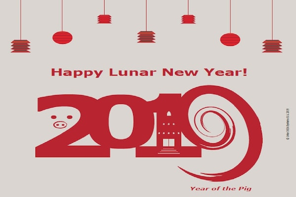 Happy Lunar New Year 2019 year of the pig