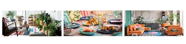 Három kép, amelyen élénk színvilágú nappali és étkező van.