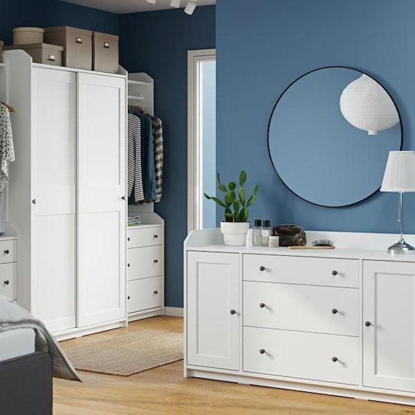 HAUGA large wardrobe in white with sliding doors and HAUGA 6-drawer dresser.