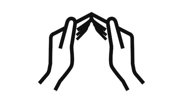 Háztetőt formáló kezek grafikája.