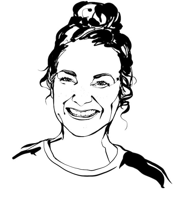 Head-and-neck, black-and-white sketch of interior designer Sara Zetterström; smile, long hair worn up in a high bun.