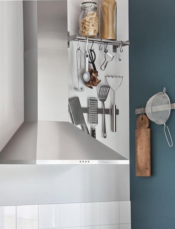 Help use your kitchen's awkward spaces, with the help of magnetic rails and racks on the walls.