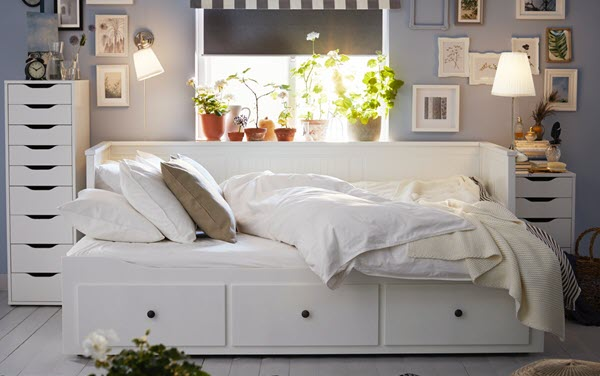 HEMNES day bed. Coordinated with all white textile, and the morning sun shines through the back window