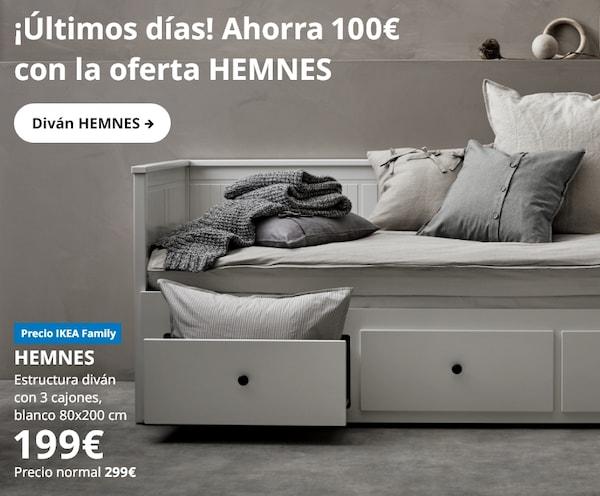 HEMNES Estructura diván con 3 cajones, blanco80x200 cm