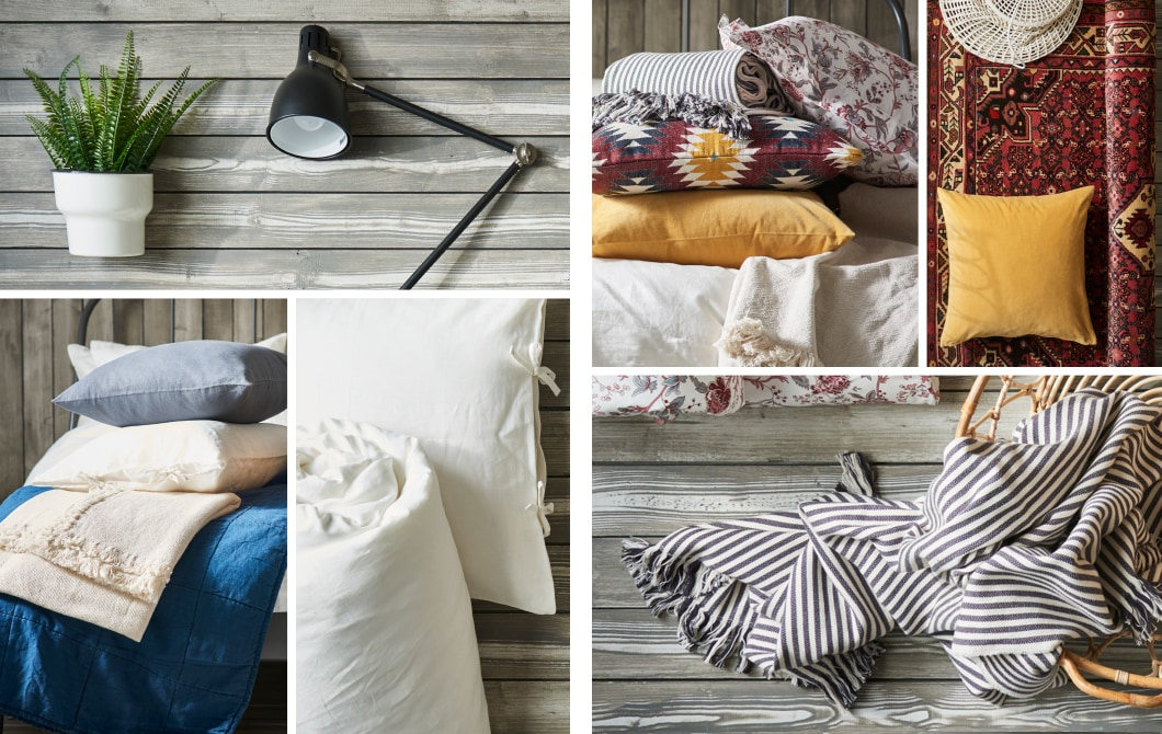 Here we show two bedroom styles, a bohemian look with a mix of prints and a minimalistic, pared-down room. Create the boho style with IKEA SPRÄNGÖRT, a pink floral printed quilt  cover and two pillowcases.