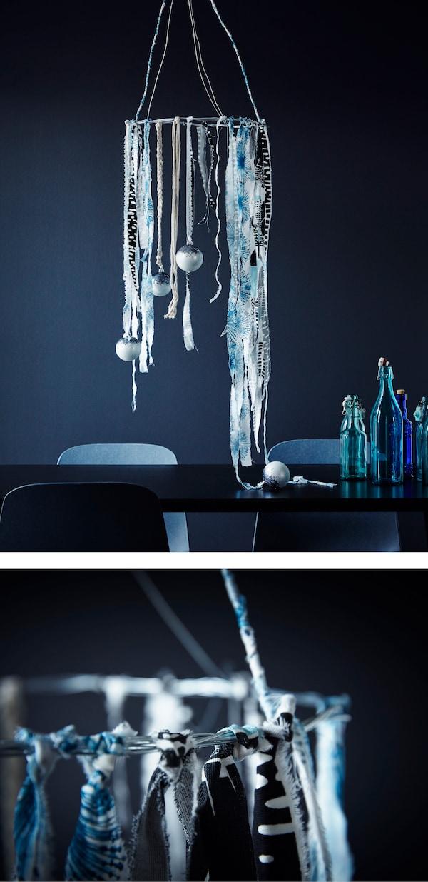هل تبحث عن أفكار زينة لغرفة الجلوس في فترة الأعياد؟ قم بإنشاء شجرة صناعية باستخدام المنسوجات! يتوفر لدى ايكيا الكثير من الأقمشة التي تعكس أجواء الكريسماس مثل قماش BRUDSLÖJA متعدّد الألوان أو قماش INGELILL المزيّن بالزهور الزرقاء.