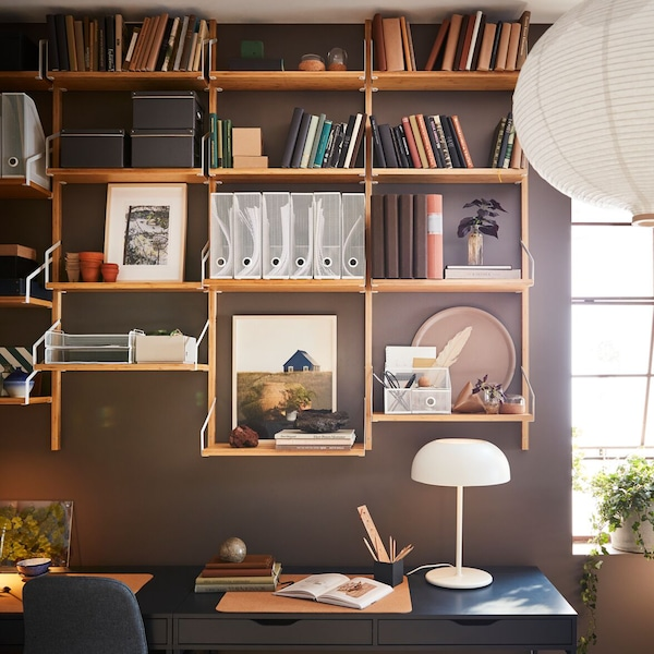 Home office with bamboo shelves, DRÖNJÖNS letter trays and organizers.