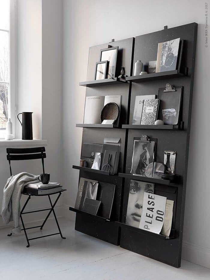 Homemade magazine shelf in black