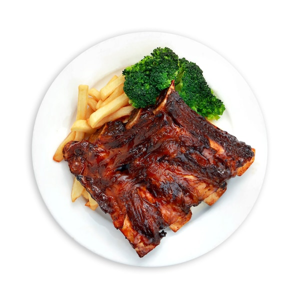 Honey Soy Beef Ribs with broccoli and fries