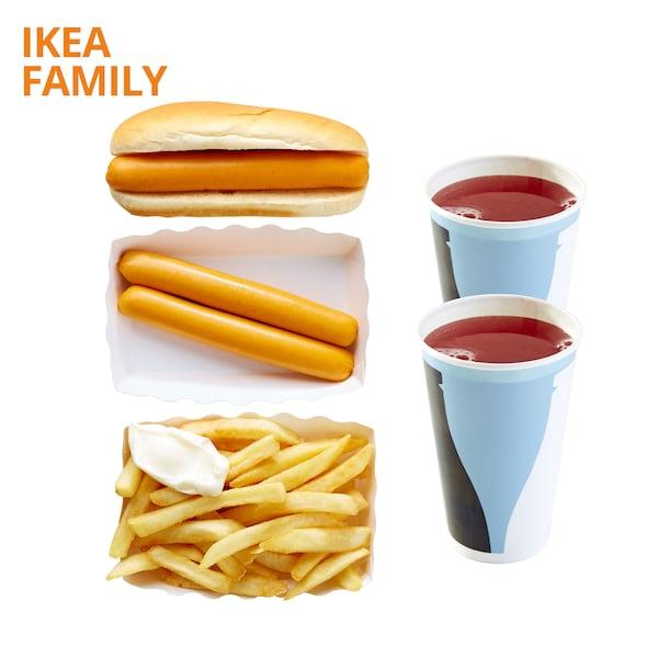Hotdog, 2pcs sausage, fries & 2 soft drinks