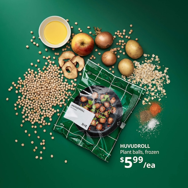 HUVUDROLL Plant balls, frozen $5.99 each. Bag of plant balls surrounded by grains and veggies against a green background