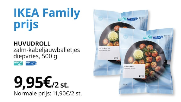 huvudroll zalm-kabeljauwballetjes diepvries 2x voor 9,95€