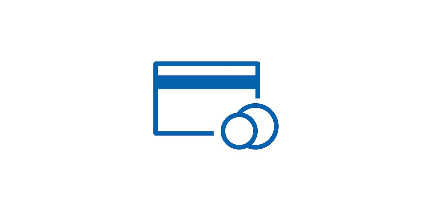 Icon of credit card with money