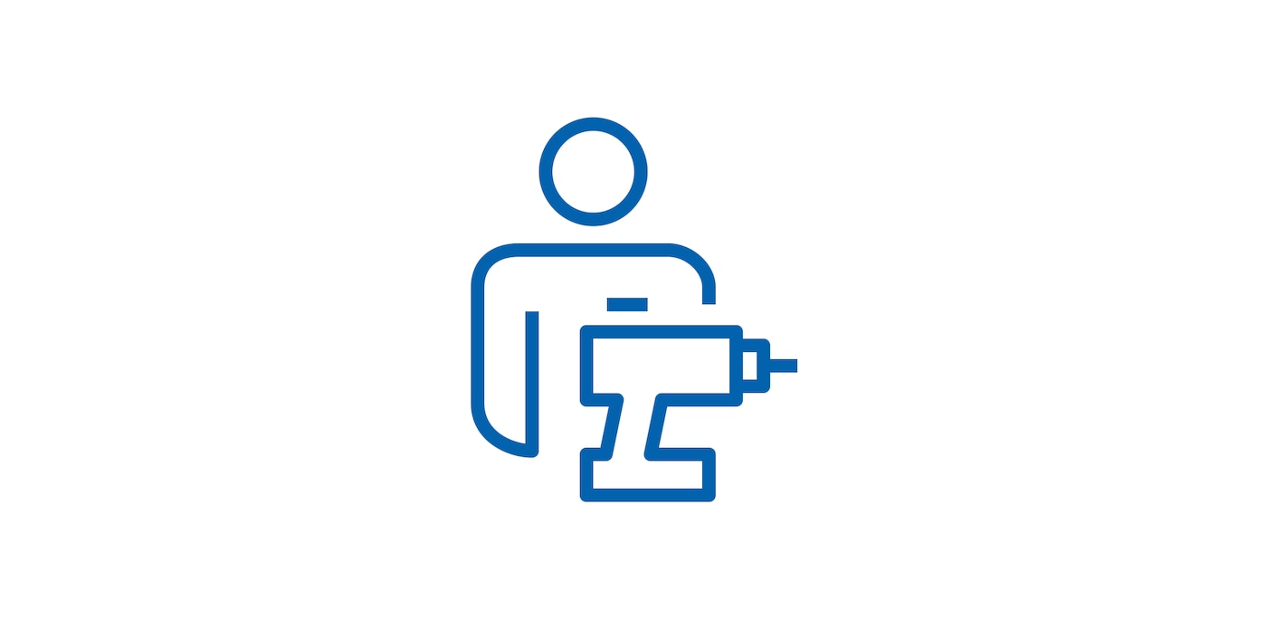 Icon of man with power tool linking to the Assembly page