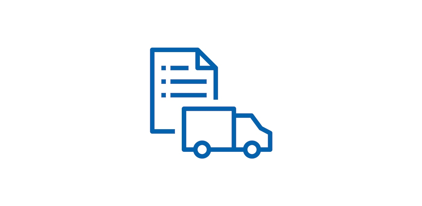 Icon of shopping list and truck