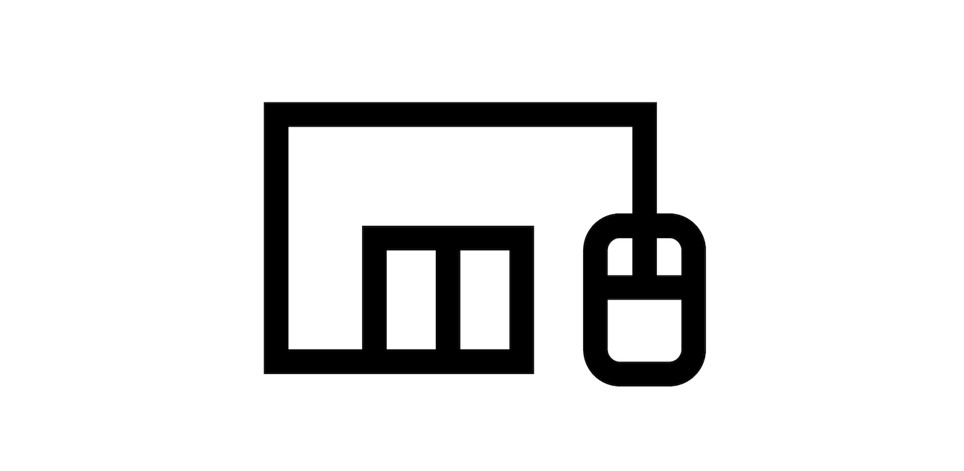 Icon of store with computer mouse