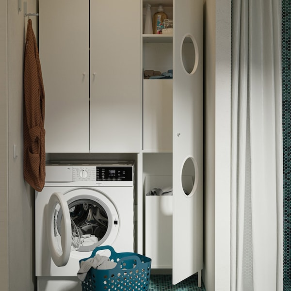 Ideas on creating a refreshing bathroom and laundry nook in one