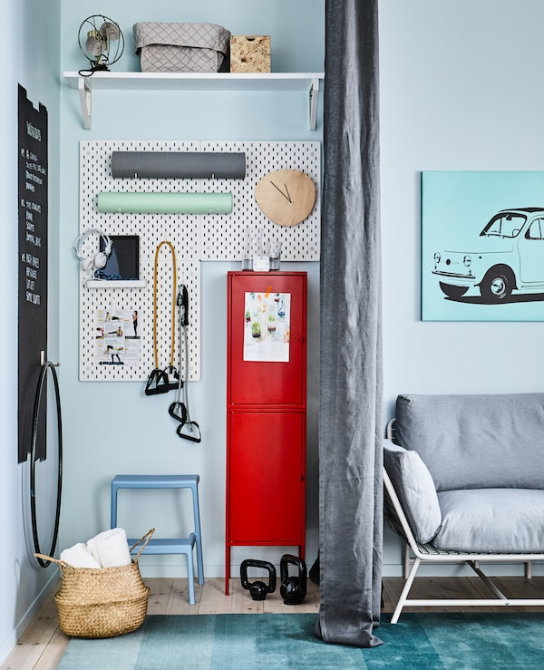 If you love to work out in the comfort of your own home, create a space dedicated to just that. All you need is a corner and smart organising skills.