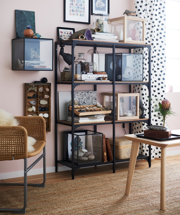 If you've got a love for beautiful geological finds, consider putting them on display for everyone to see. IKEA FJÄLLBO has an industrial look that complements organic elements.