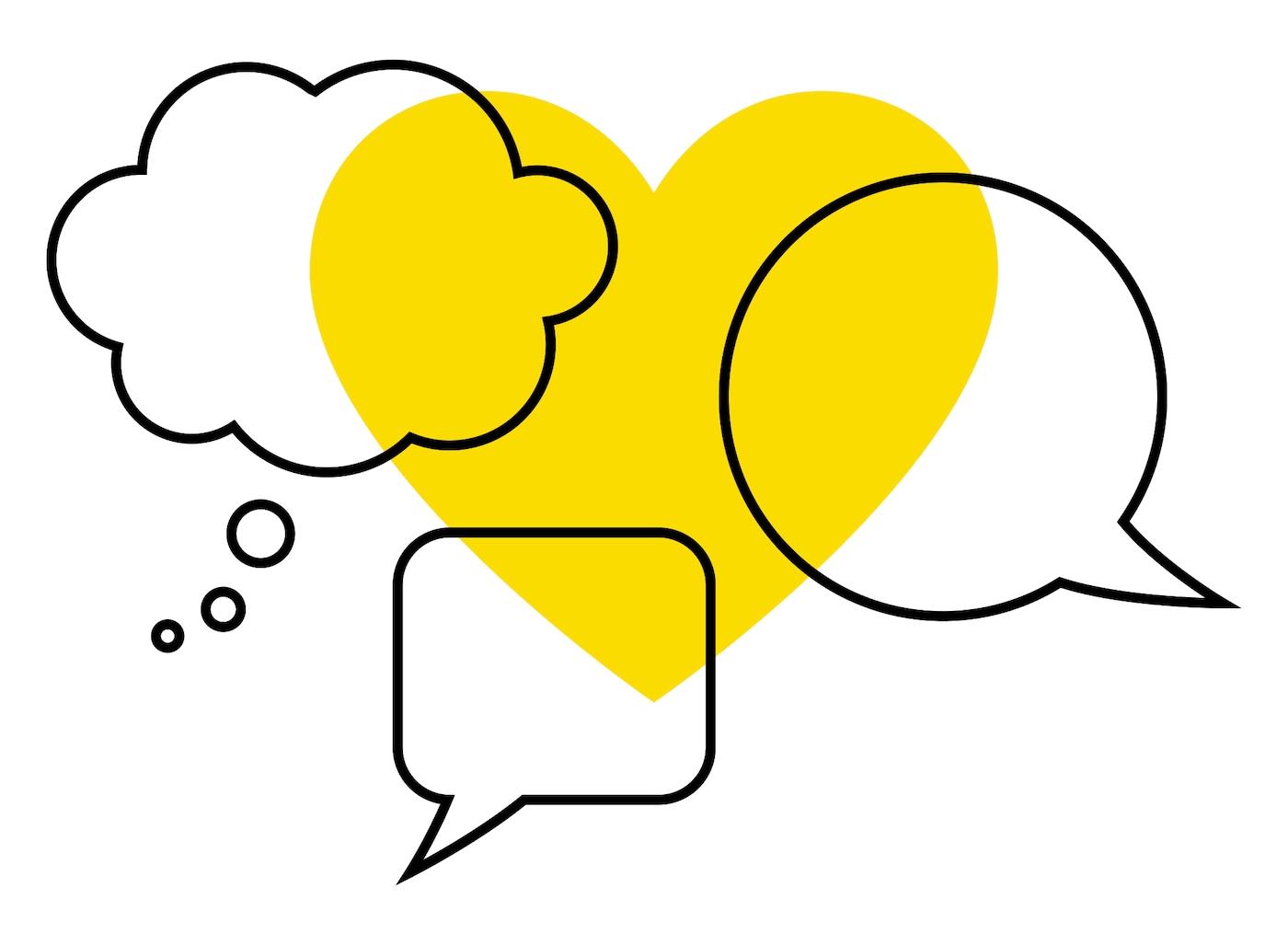 黄色いハートの上に3種類のスピーチバブルを配した、新型コロナウイルス関連の発信に関するイケアのシンボル
