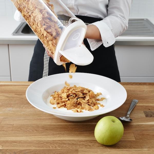IKEA 365+ Dóza s víkem na suché potraviny, transparentní/bílá, 2.3 l.