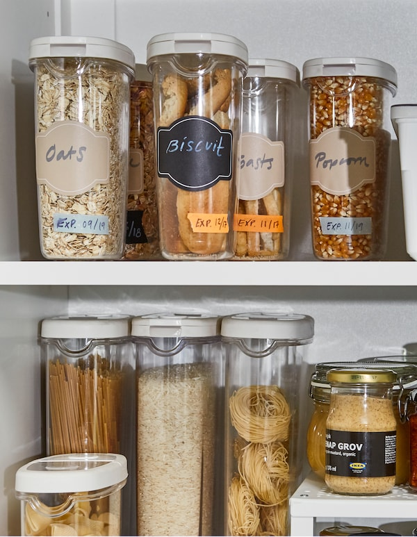 IKEA 365+ dry food jar containers are BPA free and made of clear arcylic plastic so you can see oat, biscuit, and cereal supply. The rubber tops make the containers easy to grip and pull out from the pantry.
