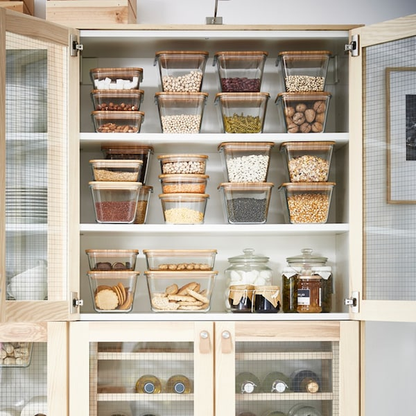 IKEA 365+ Vorratsdosen aus Glas mit Deckel aus Bambus