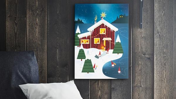 IKEA Adventskalender an einer Wand hängend.