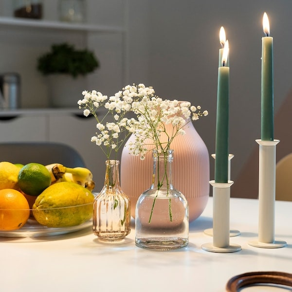 IKEA candles combined with a fruit bowl and IKEA vase.