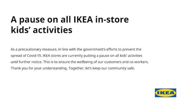 IKEA Damansara - Pause on all IKEA in-store kids' actitvities