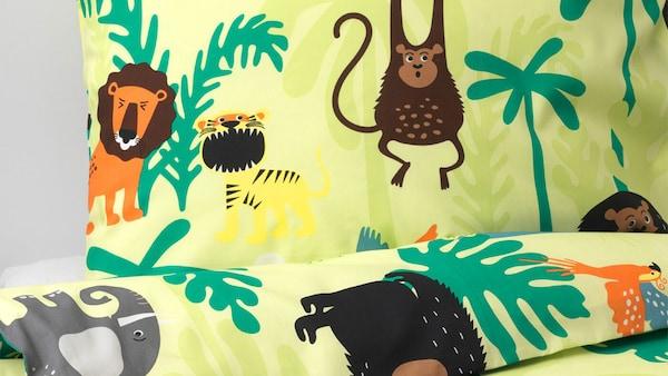 IKEA DJUNGELSKOG, povlečení pro děti s roztomilými zvířecími kresbami