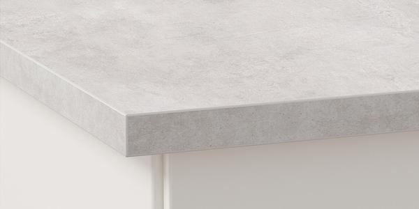 IKEA EKBACKEN grå bänkskiva av laminat som är 2,8 cm tjock.
