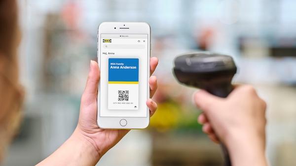 IKEA Family digitális kártya QR kódja mobiltelefonon.