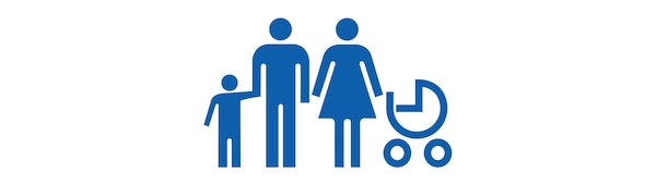 IKEA family icon in blue colour and white background.