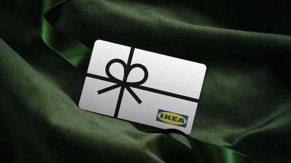 IKEA gift card on green fabric