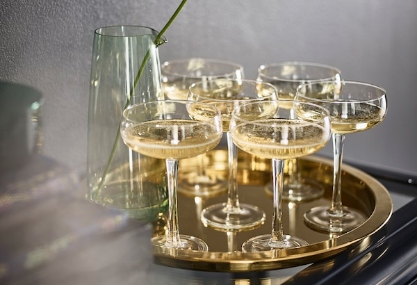 IKEA golden tray with champagne glasses