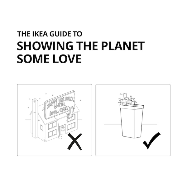 IKEA Guide to Showing the Planet Some Love: diagram of a house with large Christmas lights next to a recycling bin.