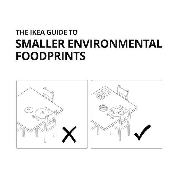 IKEA Guide to Smaller Environmental Foodprints: diagrams of a dinner table demonstrating using food storage for leftovers.