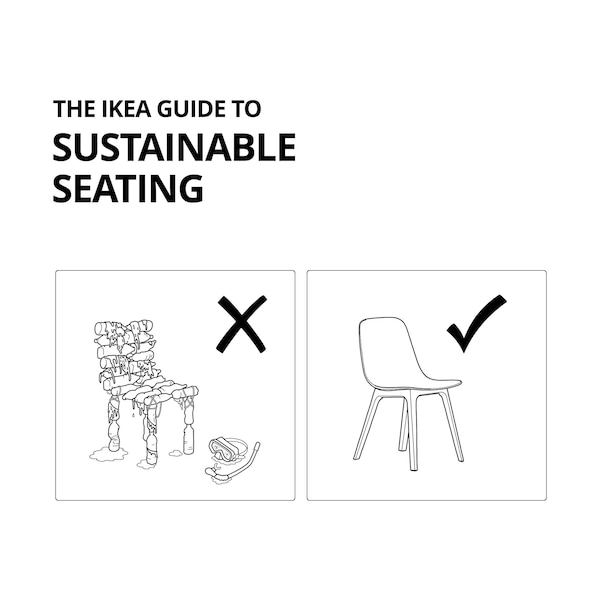 IKEA Guide to Sustainable Seating: black and white diagram of a chair made of plastic bottles next to a normal chair.