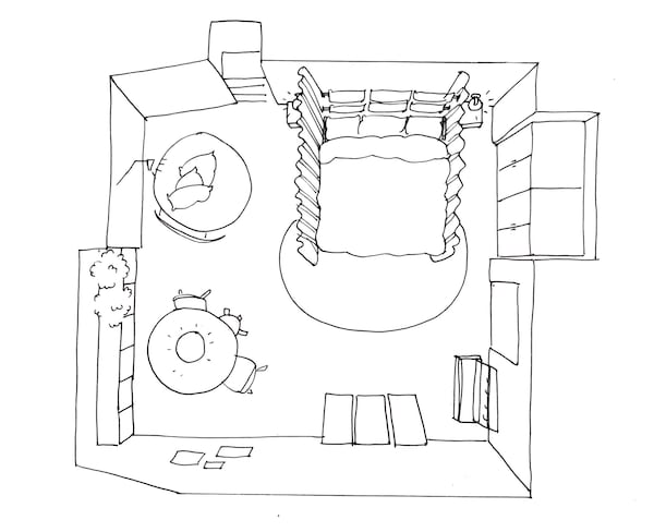 IKEA has ideas to help design a bedroom like the one in this sketch. A table, cabinets and reading corner are on the far wall. On the left-hand wall is a TV. On the right-hand wall is a bed with curtains. A wardrobe is on the entry wall.