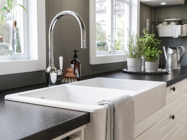 IKEA HAVSEN white kitchen sink bowls are deep enough to hold many pots and dishes, while its easy-care smooth ceramic surface has soft rounded corners.