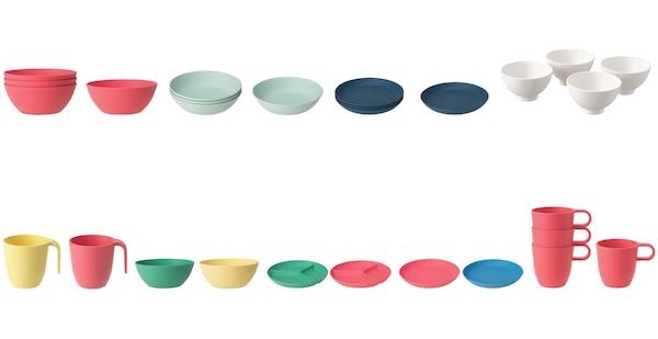 IKEA HEROISK and TALRIKA plates, bowls, and mugs