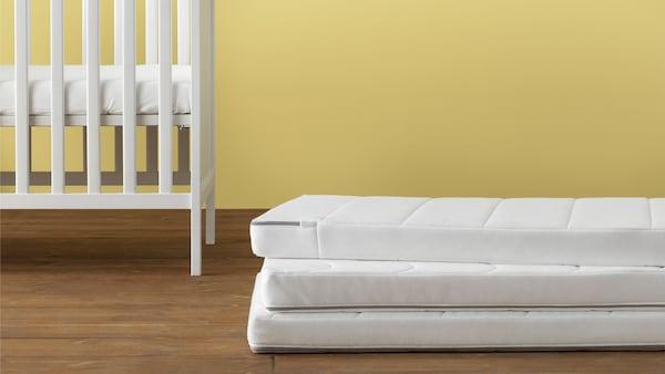 IKEA Home Furnishings, featuring a variety of cot mattresses, KRUMMELUR foam mattress for cot