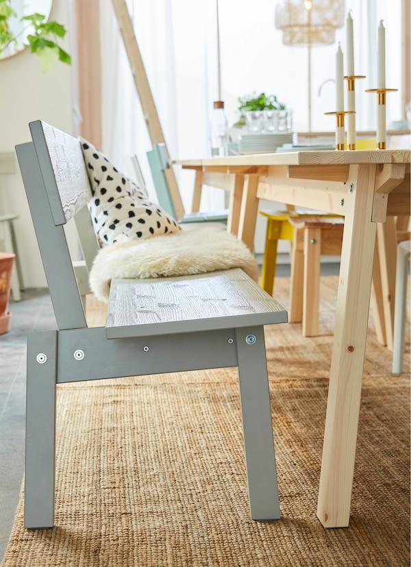 IKEA INDUSTRIELL light grey wood bench.