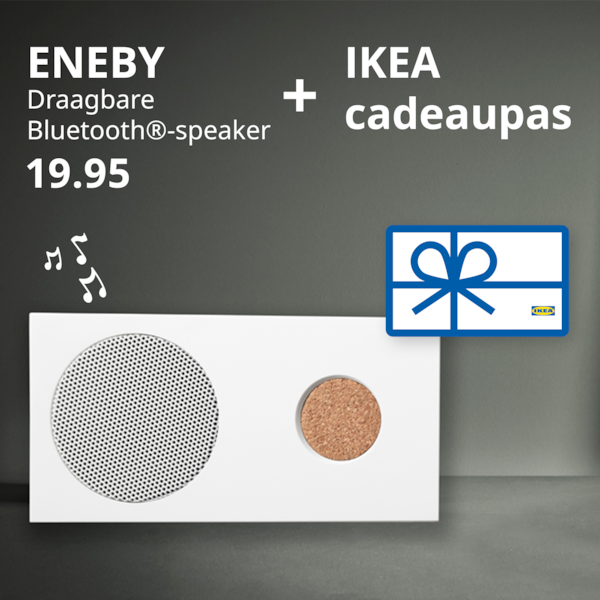 IKEA kerstpakket zelf samenstellen bijvoorbeeld met ENEBY speaker en cadeaukaart