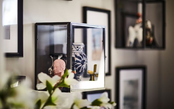 IKEA KNOPPÄNG black picture frames and BARKHYTTAN black display boxes with clear glass showing a collection of artwork on the wall.