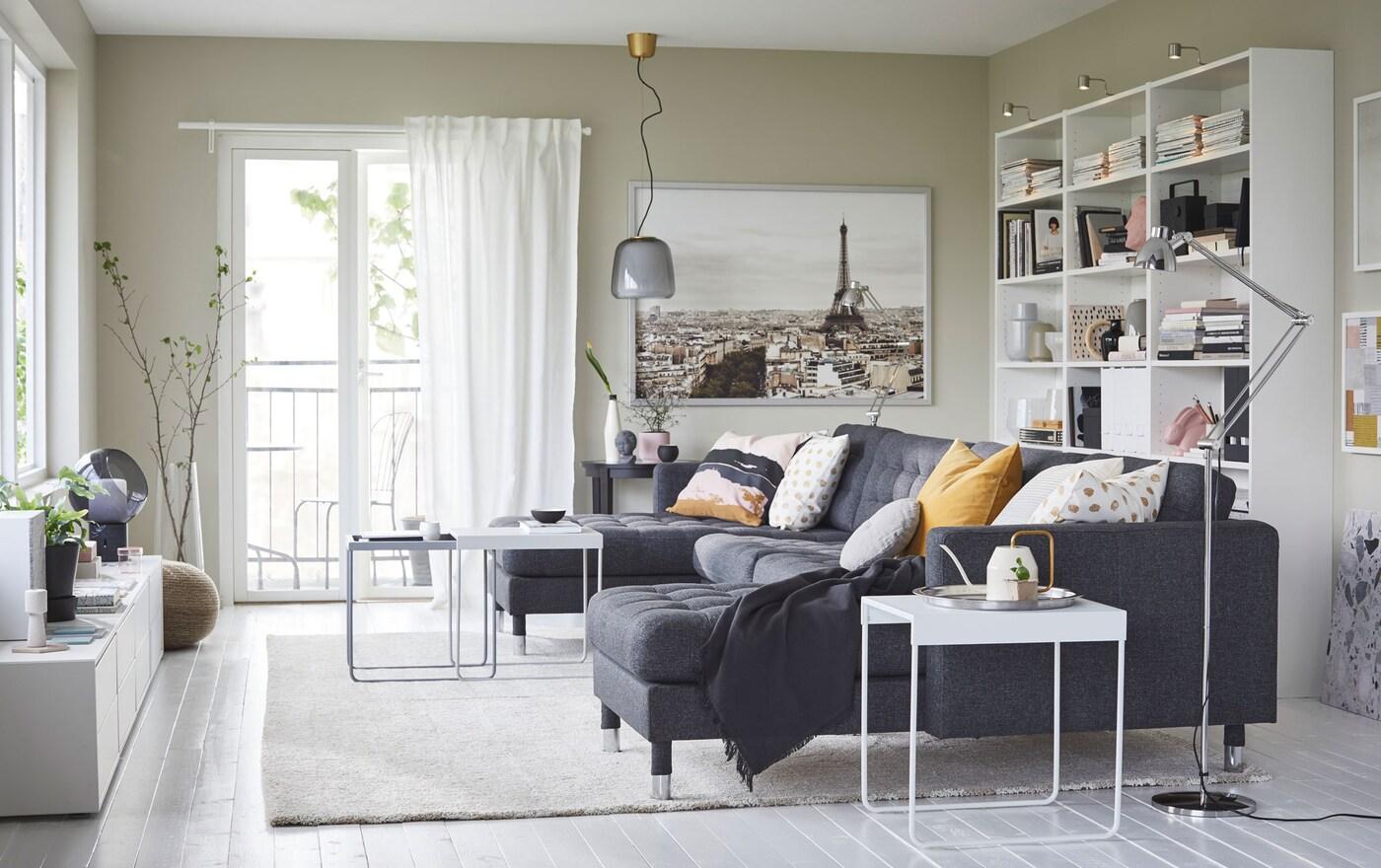 IKEA LANDSKRONA 5er Sofa Mit Récamieren/Gunnared Dunkelgrau/Metall Bietet  Platz Für 5