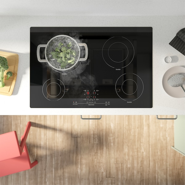 IKEA NUTID element glass ceramic cooktop in black has 2 variable cooking zones that provide even and effective heating.