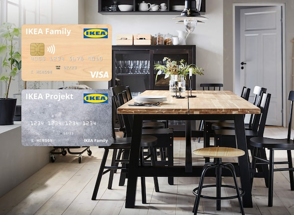 IKEA® Visa and Projekt credit cards featured in an organized dining room with dining table and chairs