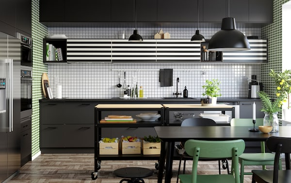 IKEA SEKTION kitchen series with YTTERBYN black and white striped door fronts.